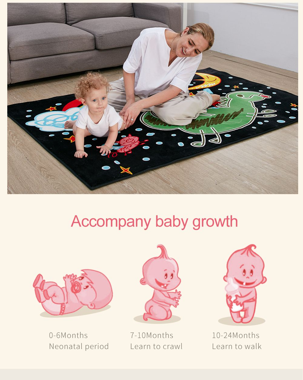Plush Crawling Mat Cartoon Pattern Baby Playmat