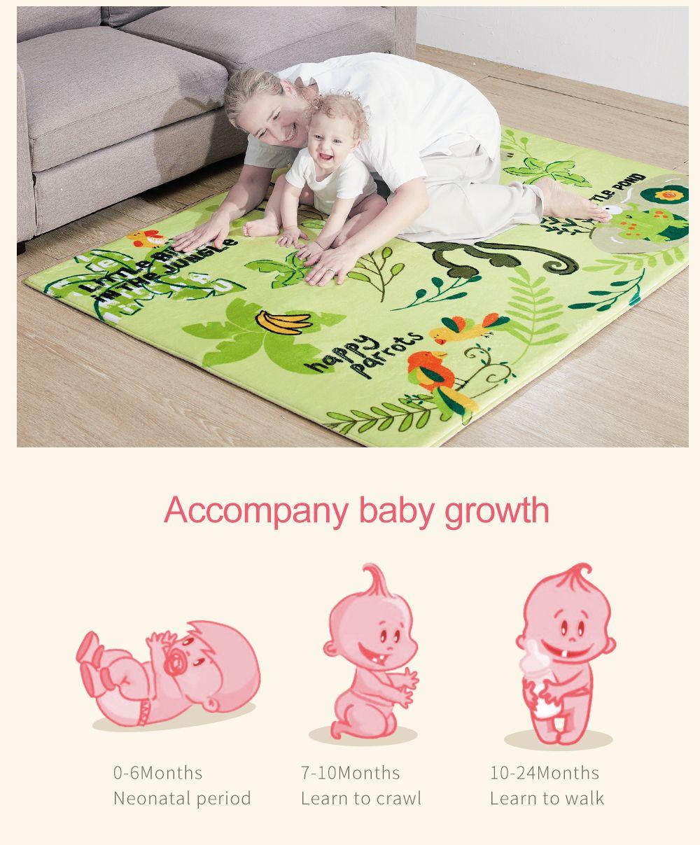 Plush Playmat Cartoon Monkey Pattern Soft Crawling Mat