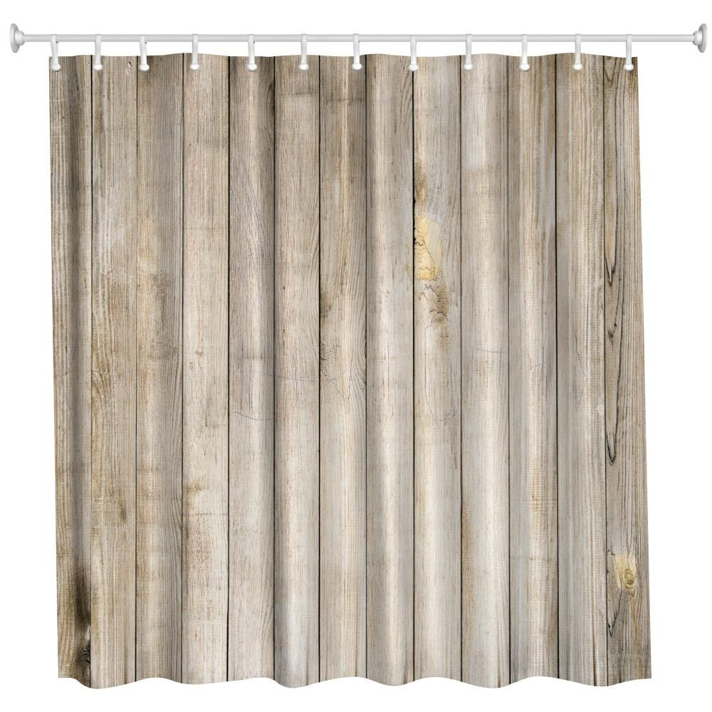 Water Resistant Woods This Is What You Should Know: 2018 Wood Door Polyester Shower Curtain Bathroom Curtain