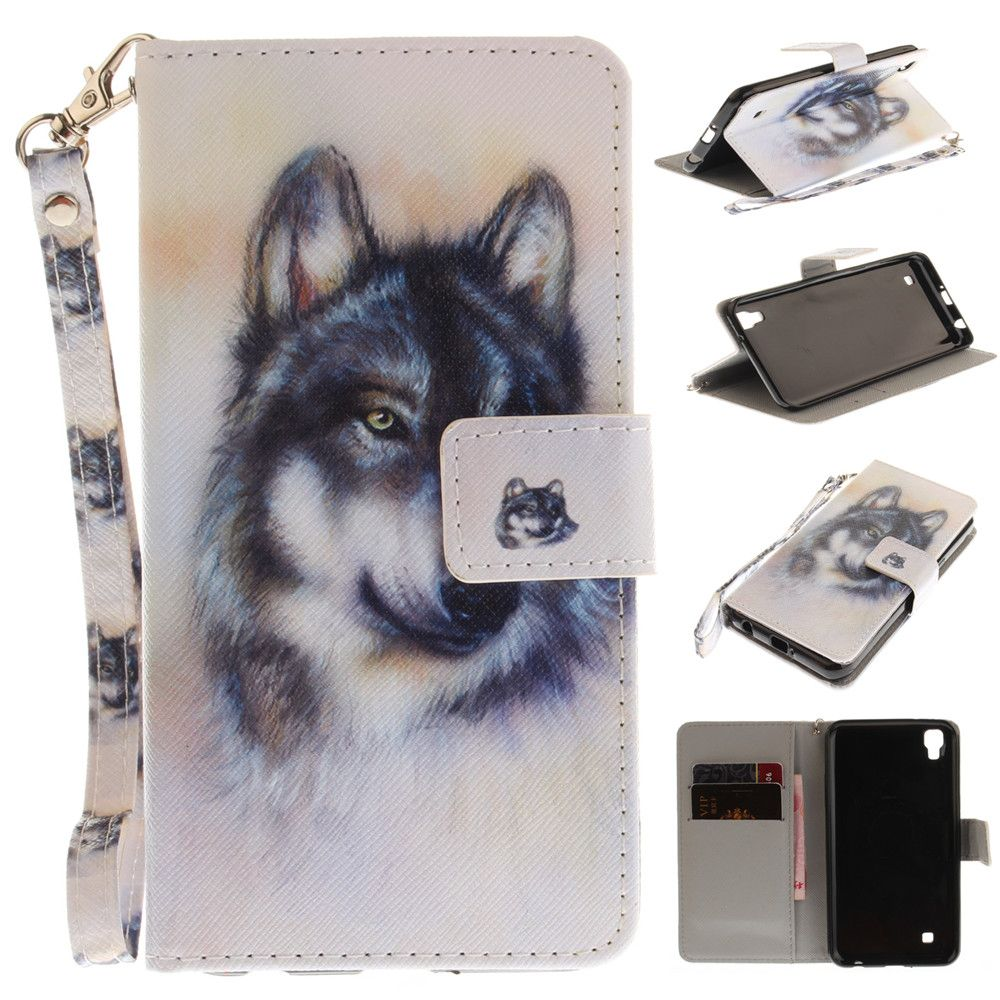 Cover Case for LG Xpower Wolf PU+TPU Leather with Stand and Card Slots Magnetic Closure