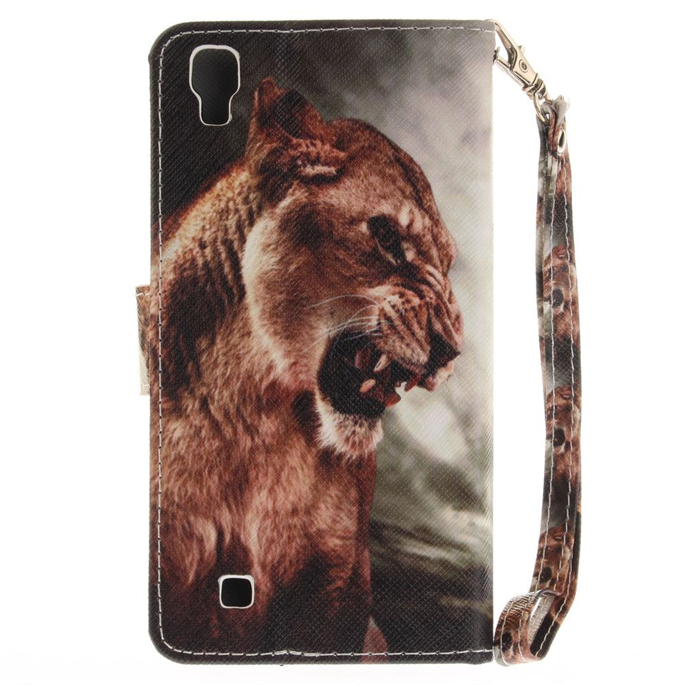 Cover Case for LG Xpower A Male Lion PU+TPU Leather with Stand and Card Slots Magnetic Closure