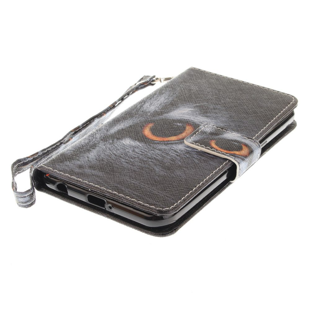 Cover Case for LG Xpower Half A Face of A Cat PU+TPU Leather with Stand and Card Slots Magnetic Closure