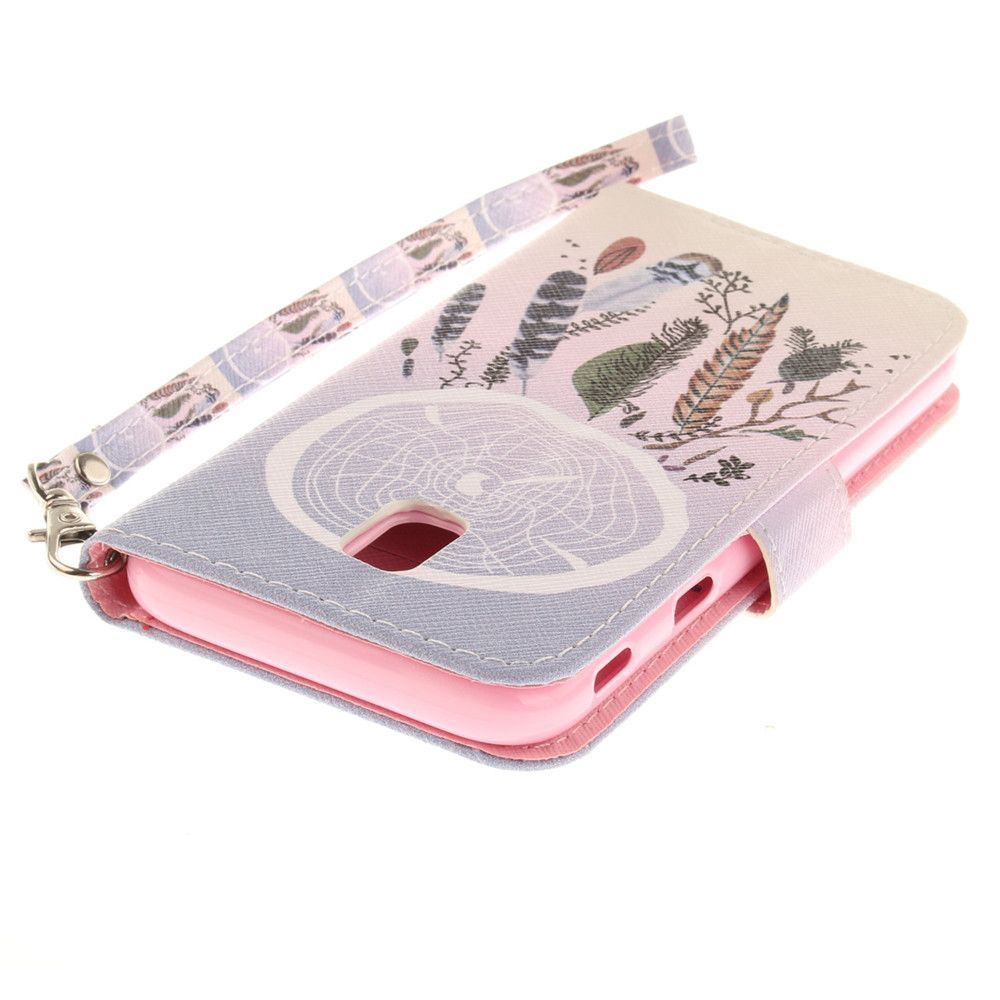 Cover Case for Samsung Galaxy J3 2017 J330 Color Bells PU+TPU Leather with Stand and Card Slots Magnetic Closure