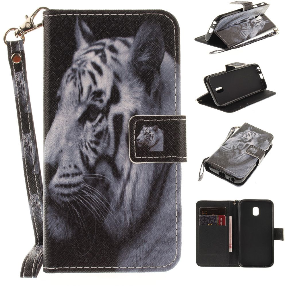 Cover Case for Samsung Galaxy J3 2017 J330 The White Tiger PU+TPU Leather with Stand and Card Slots Magnetic Closure