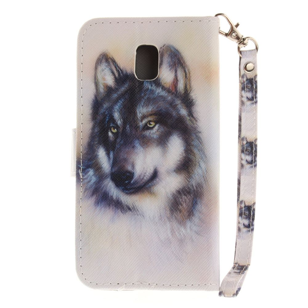 Cover Case for Samsung Galaxy J3 2017 J330 Wolf PU+TPU Leather with Stand and Card Slots Magnetic Closure
