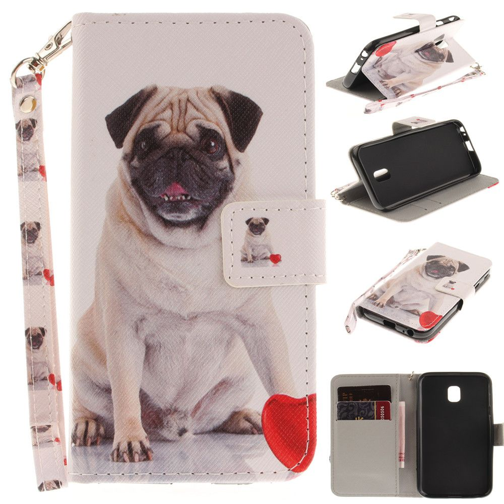 Cover Case for Samsung Galaxy J3 2017 J330 Pug PU+TPU Leather with Stand and Card Slots Magnetic Closure