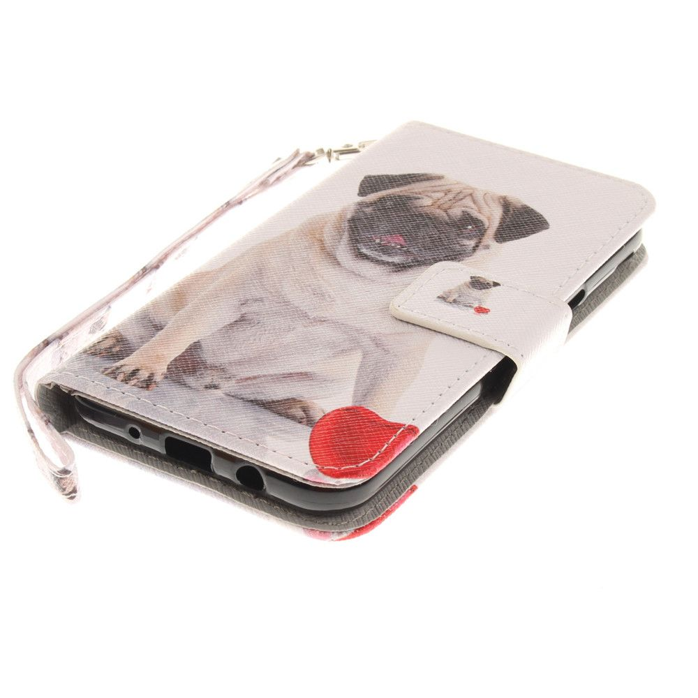 Cover Case for Samsung Galaxy J3 2017 Pug PU+TPU Leather with Stand and Card Slots Magnetic Closure