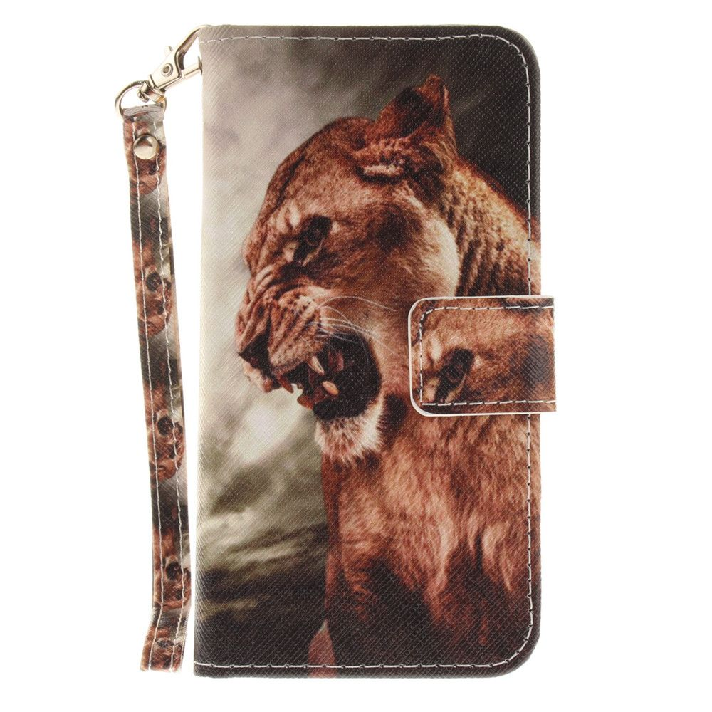 Cover Case for Samsung Galaxy J3 2017 A Male Lion PU+TPU Leather with Stand and Card Slots Magnetic Closure