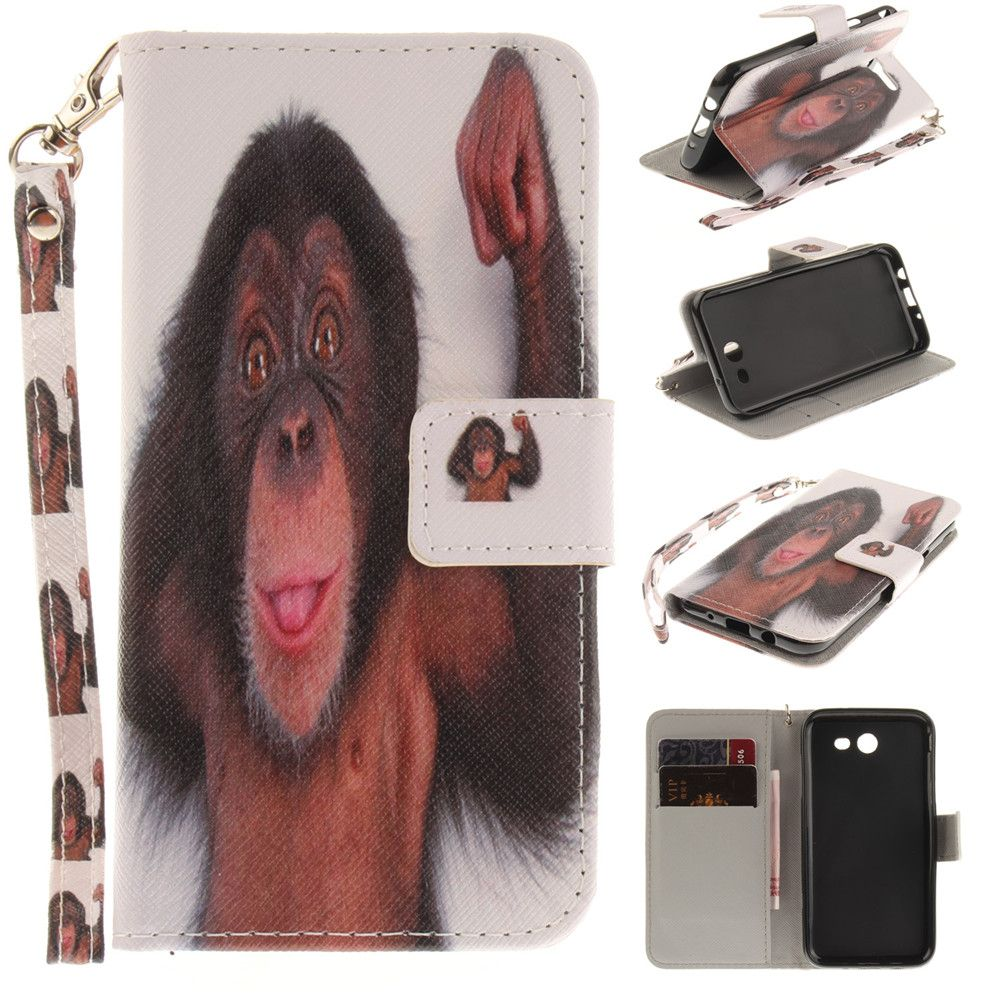 Cover Case for Samsung Galaxy J3 2017 Monkey PU+TPU Leather with Stand and Card Slots Magnetic Closure