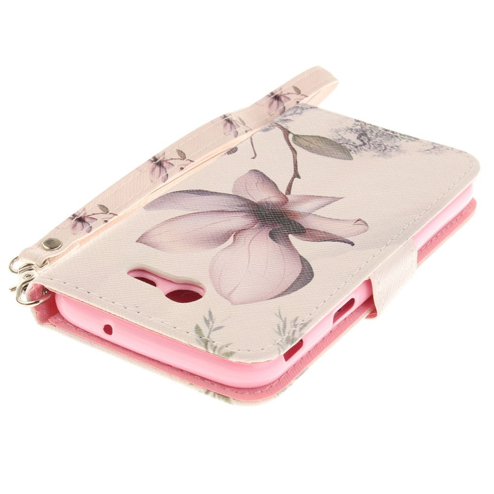 Cover Case for Samsung Galaxy J3 2017 Magnolia PU+TPU Leather with Stand and Card Slots Magnetic Closure