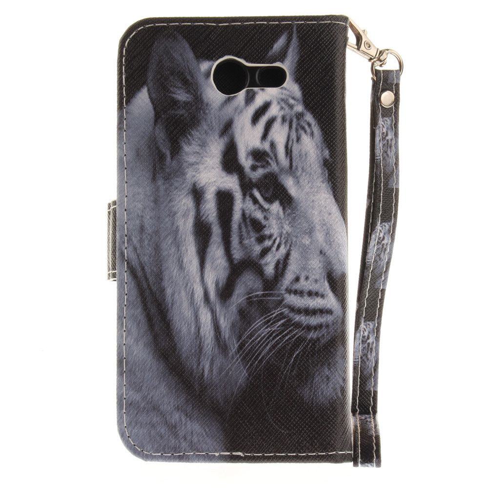 Cover Case for Samsung Galaxy J3 2017 The White Tiger PU+TPU Leather with Stand and Card Slots Magnetic Closure