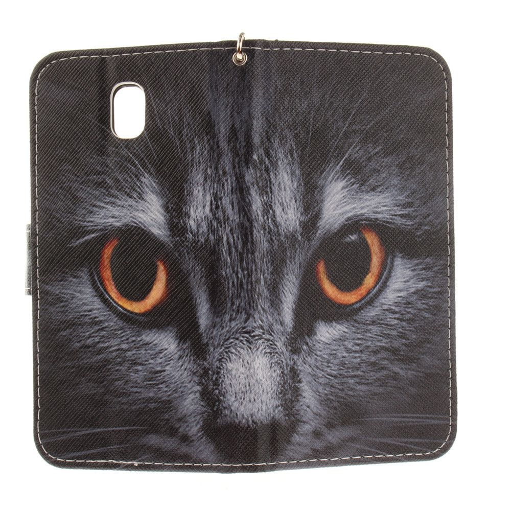 Cover Case for Samsung Galaxy J7 2017 J730 Half Face of A Cat PU+TPU Leather with Stand and Card Slots Magnetic Closure