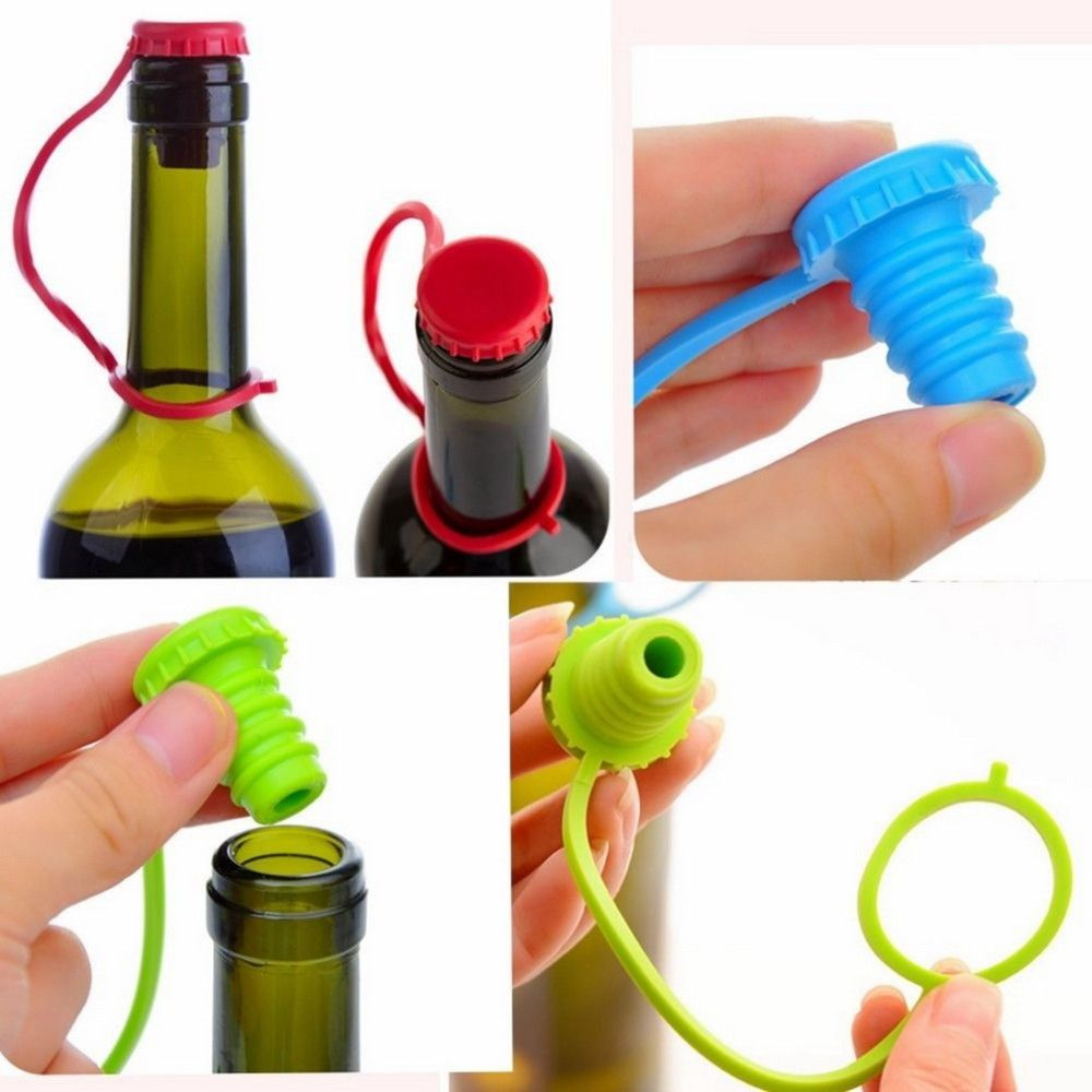 Kitchen Anti-Lost Hanging Button Condiment Bottle Stopper Silicone Beer Stopper Wine Stopper