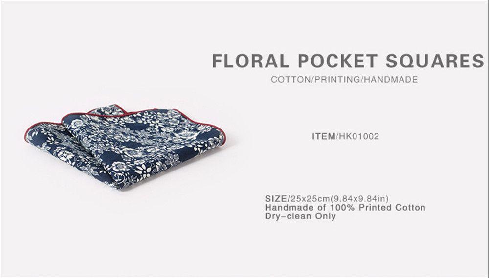 Men'S Printed Handkerchief Floral Pocket Towel