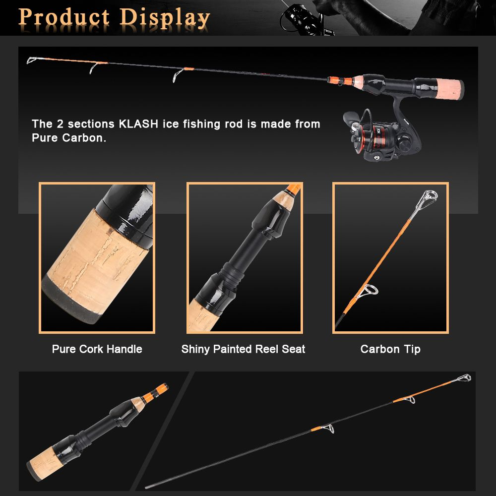 HONOREAL Klash Light Portable Travel Spinning Ice Fishing Rod Reel Combo