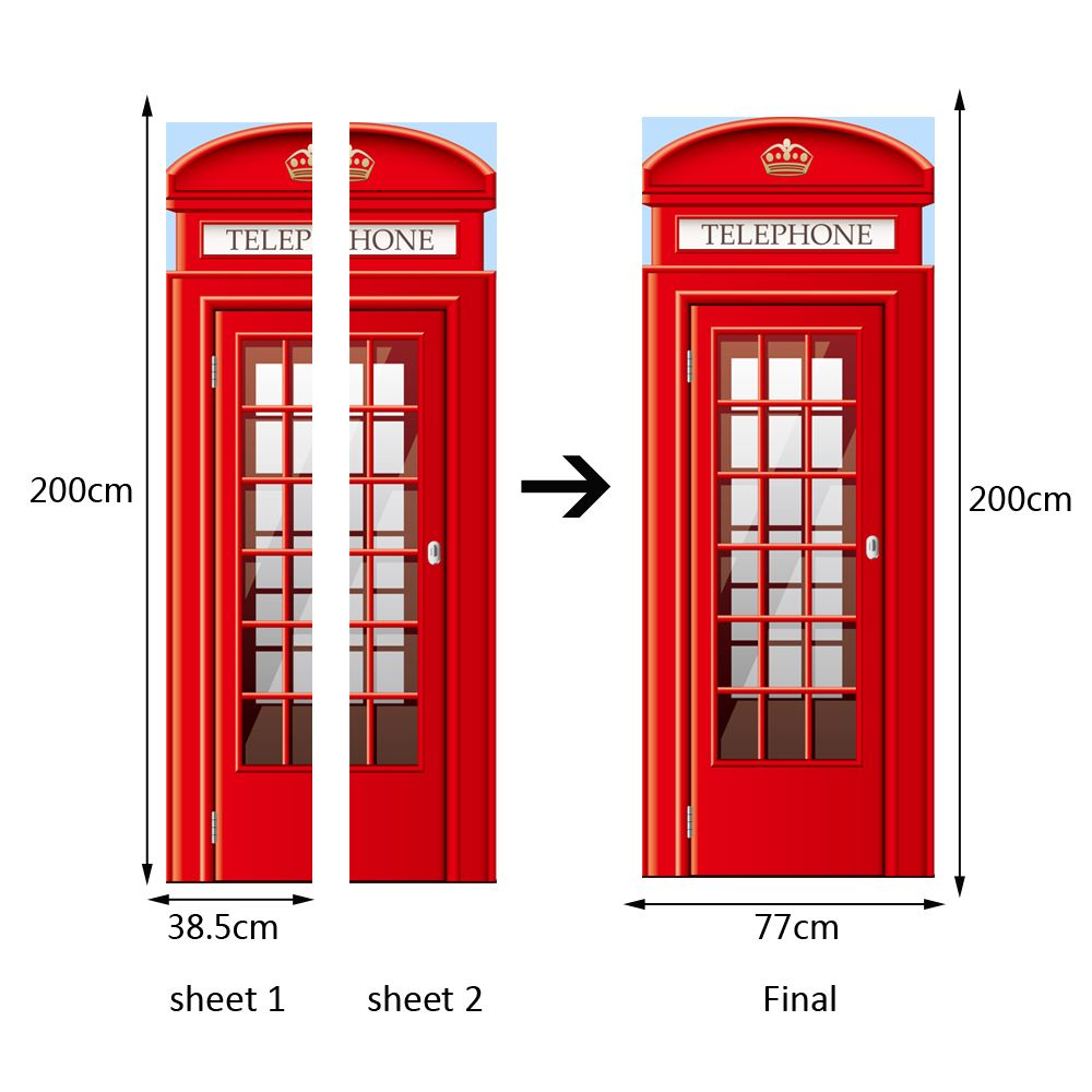 3D Red Telephone Booth Door Mural Sticker Decorative 3D Call Box Door Stickers Mural Large Size 77x200cm For Living Room