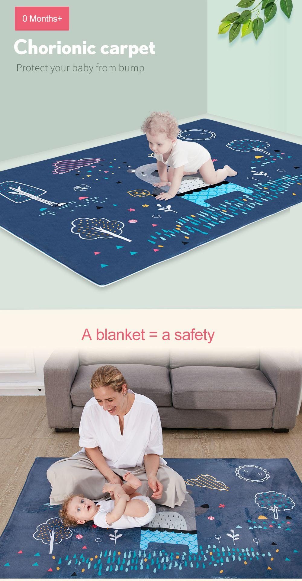 Children's Plush Crawling Mat Cartoon Animal Pattern Cute Baby Playmat