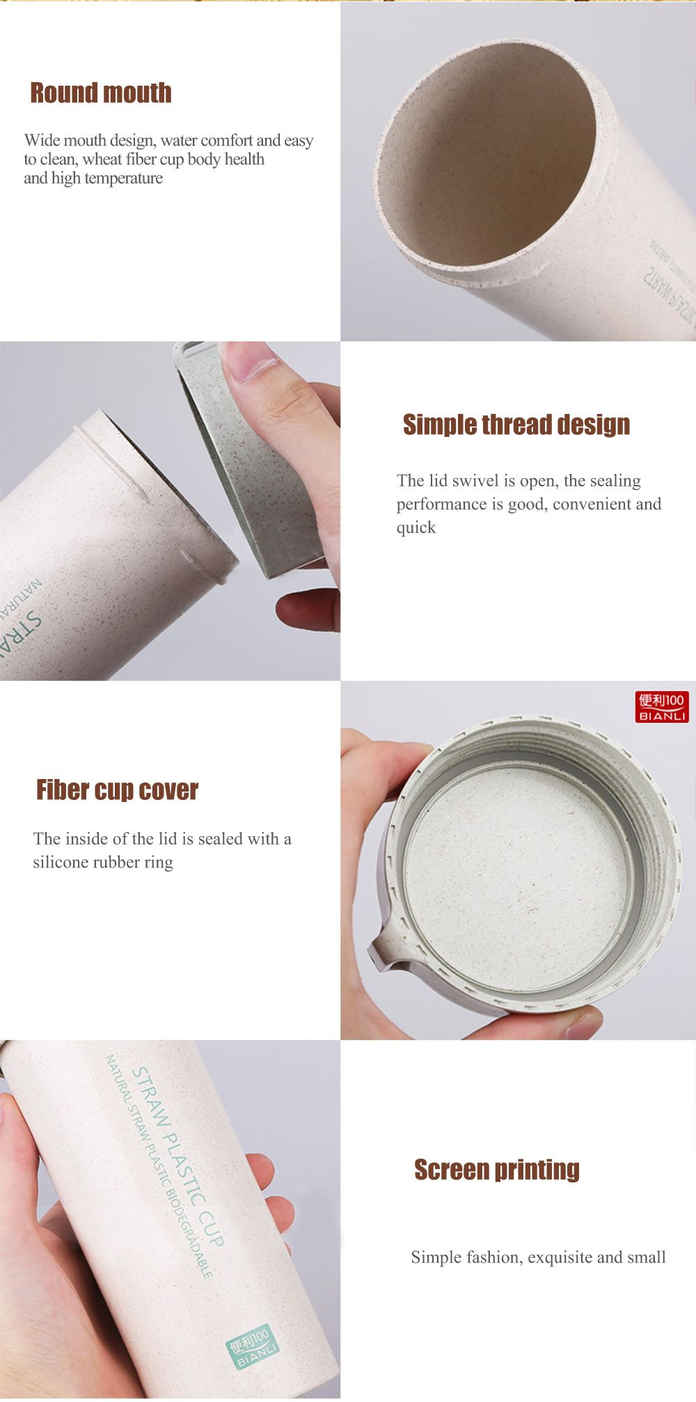 Female Student Portable Wheat Straw Plastic Cup with Cover and Rope Sling