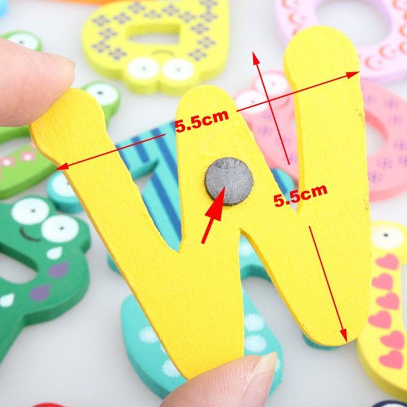 26PCS Cartoon Fridge Wooden Magnet Baby Child Toy Puzzle English Educational Toy Alphabet