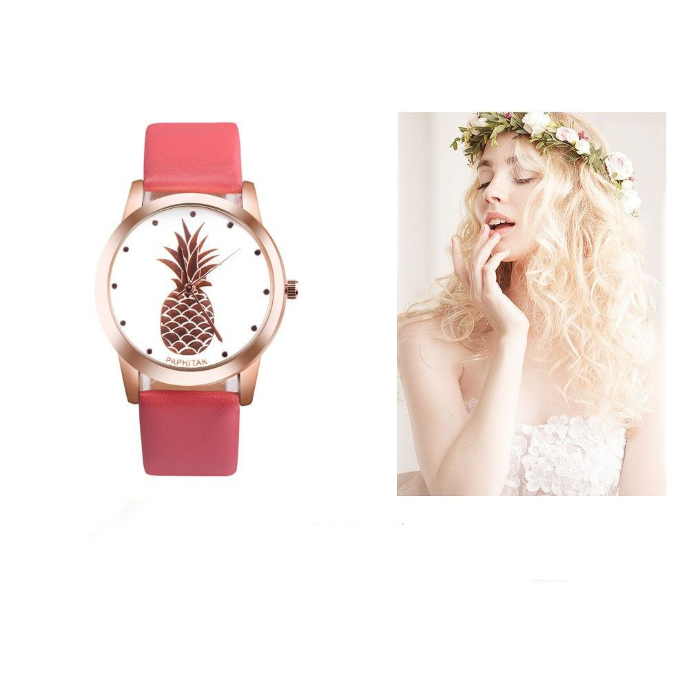 Lovely Pineapple Faux Leather Band Casual Analog Quartz Watch