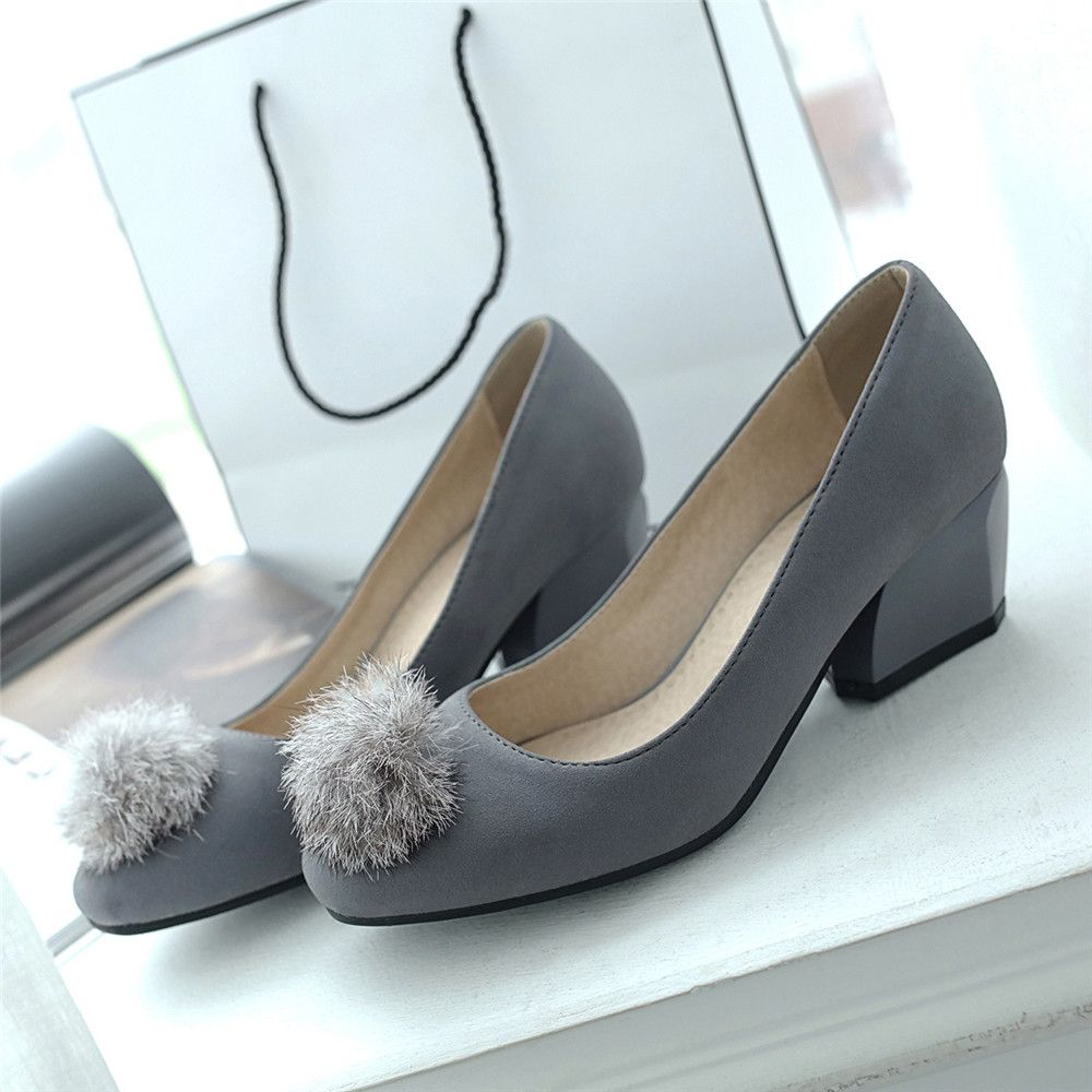 Miss Shoe BK503 Round Head Thick and Shallow Single Shoes - Gray 42 low cost wholesale price outlet best prices good selling cheap online official site sale online z0rKHfK