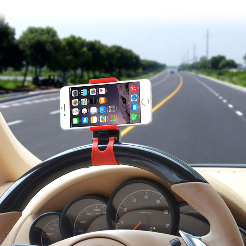 Universal Stand Car Steering Wheel Clip Mount Holder for Mobile Phone GPS Accessories