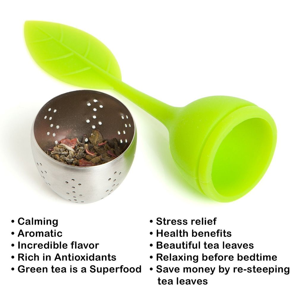 Silicone Leaf Handle Tea Infuser with Stainless Steel Strainer Filter for Loose Tea Fennel Tea Herbal Tea Green