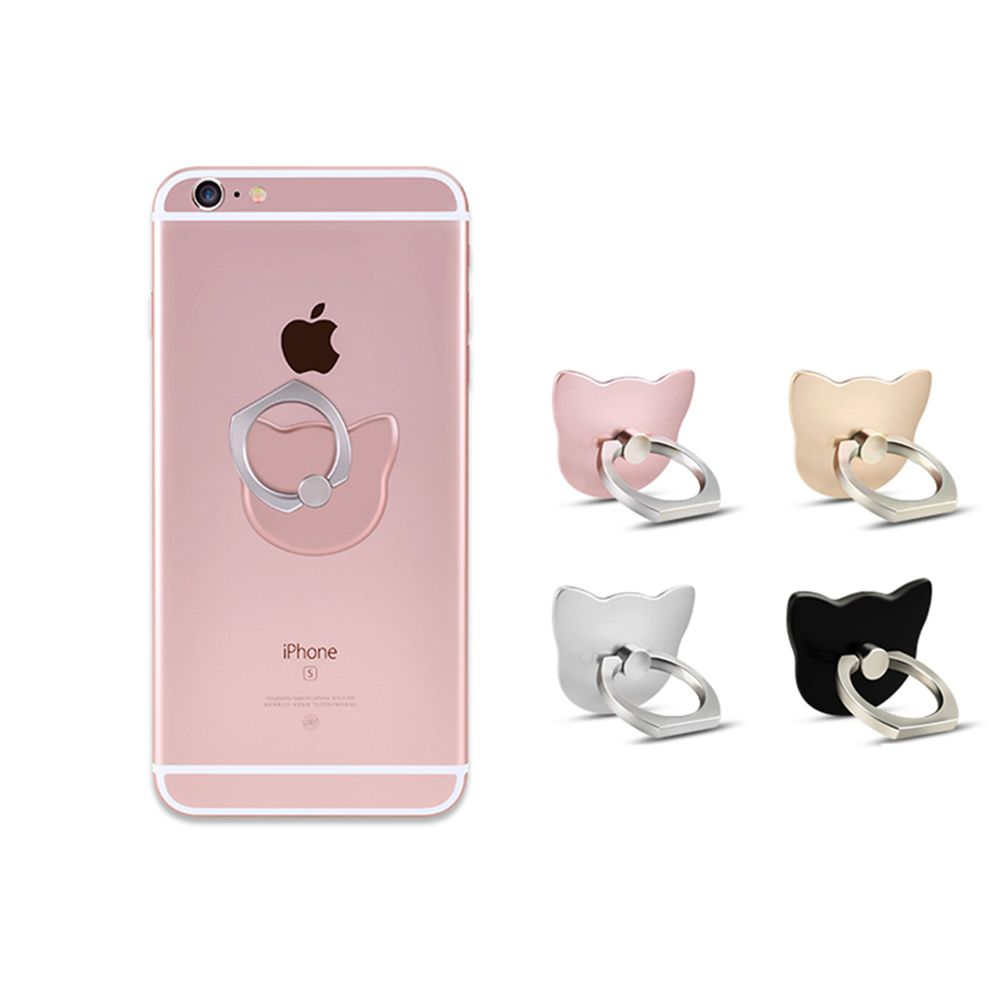 Cartoon Cat Head 360 Degree Finger Ring Mobile Phone Smartphone Stand Holder