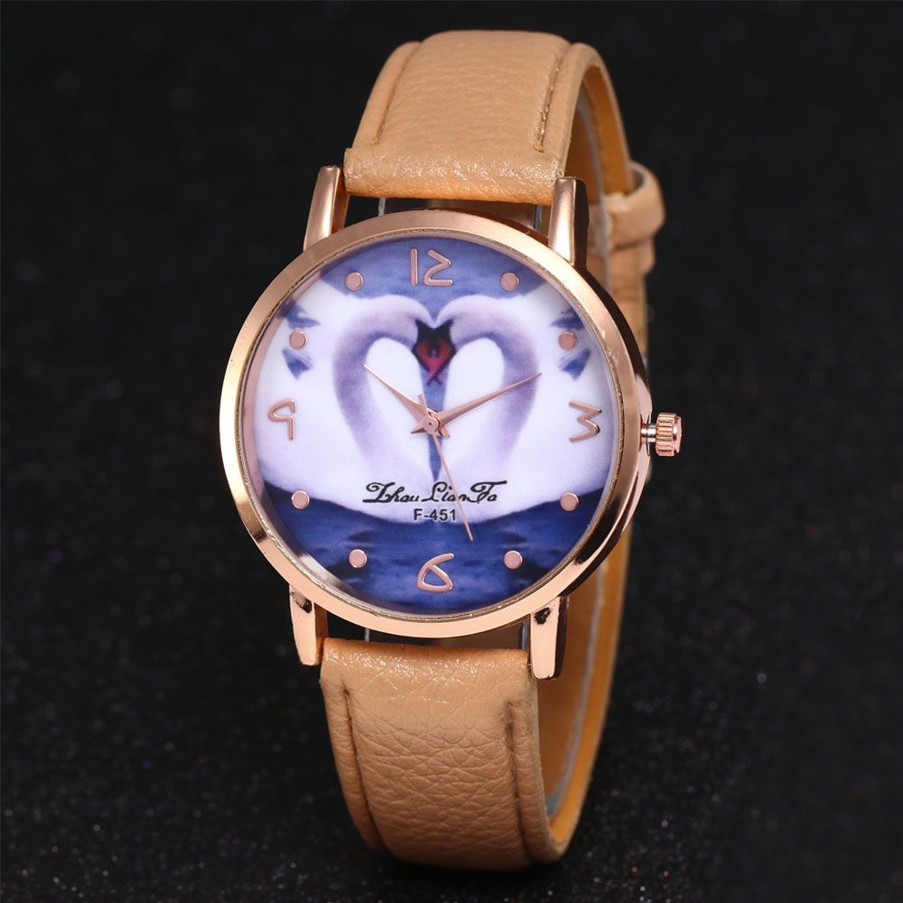 ZhouLianFa New Brand Lychee Pattern Strap Swan Love Pattern Luxury Ladies Quartz Watch