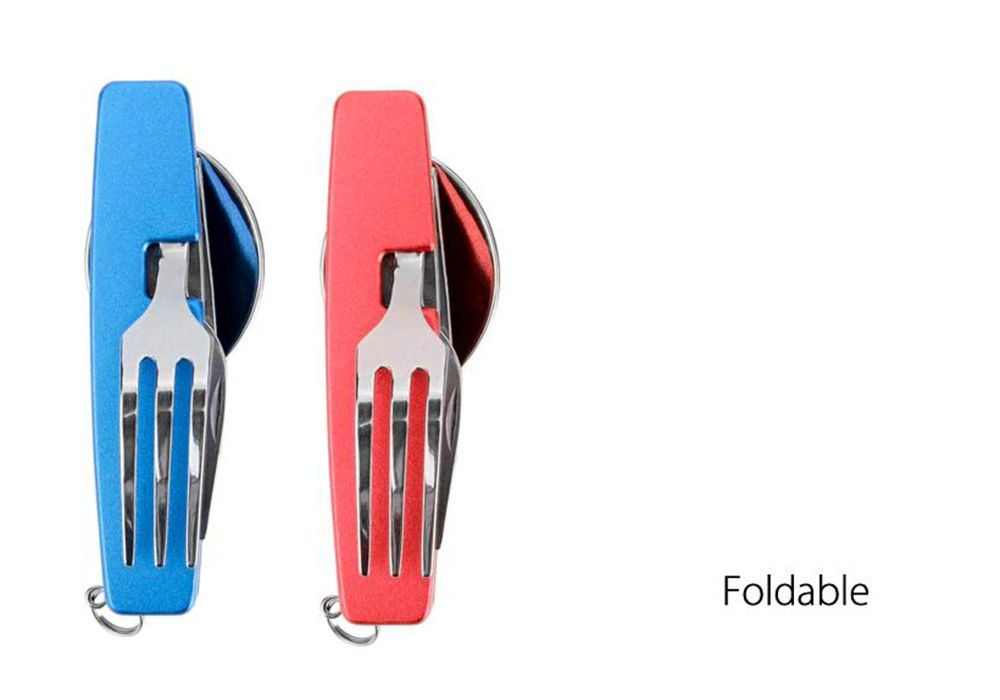 Portable Multifunctional 4 in 1 Foldable Tableware for Camping