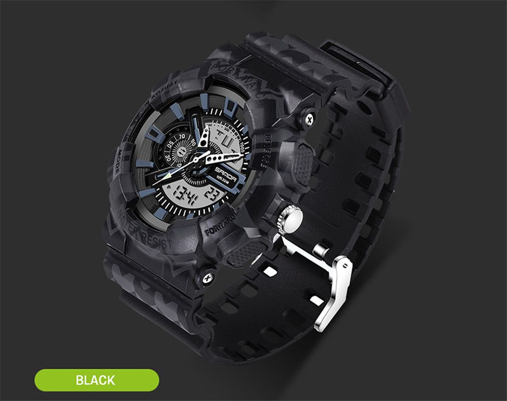 SANDA 999 5317 Outdoor Sports Fashionable LED Night Light Display Multi Functional Trend Waterproof Men Watch