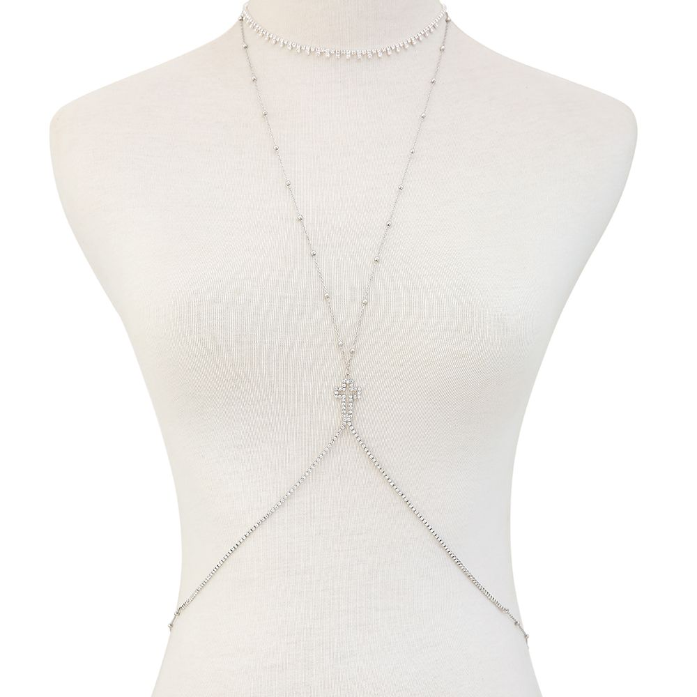 European and American new minimalist series body chain cross diamond alloy necklace