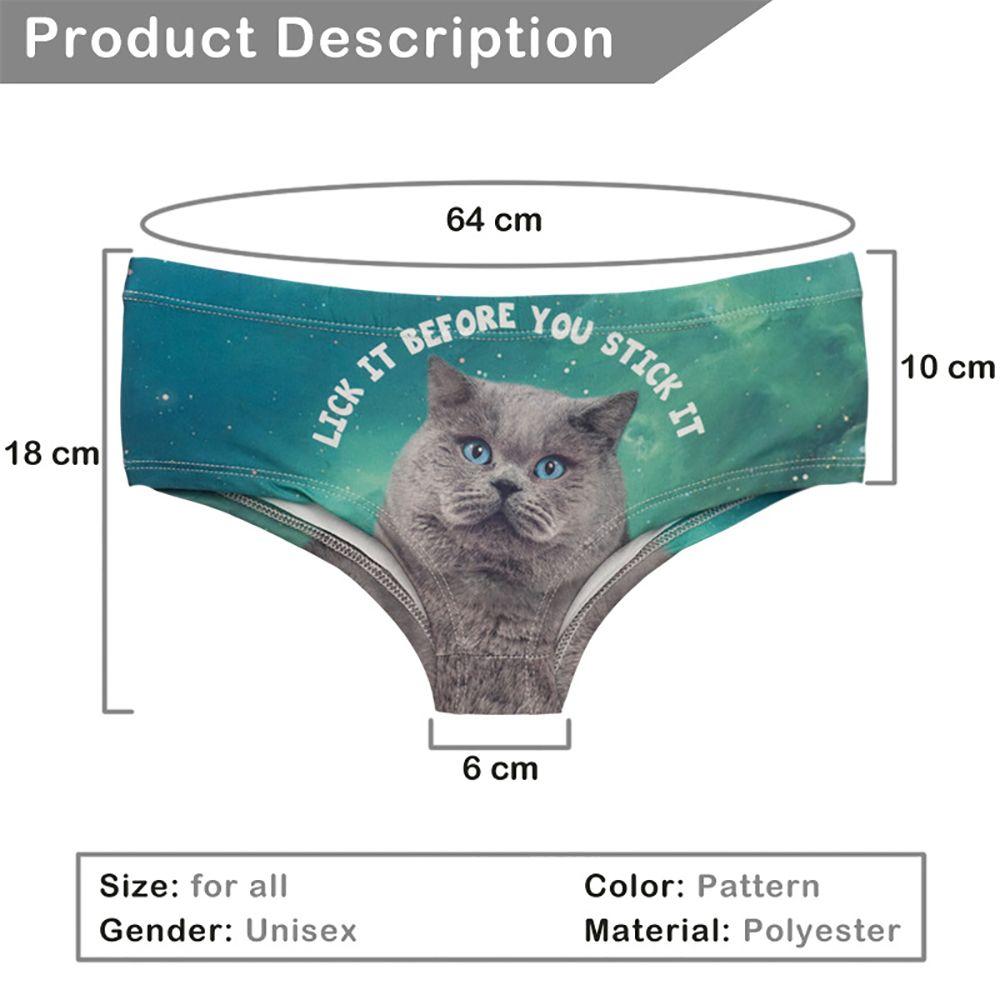 Fashion  Underwear Gray Cats 3D Printing Women Sexy Panties