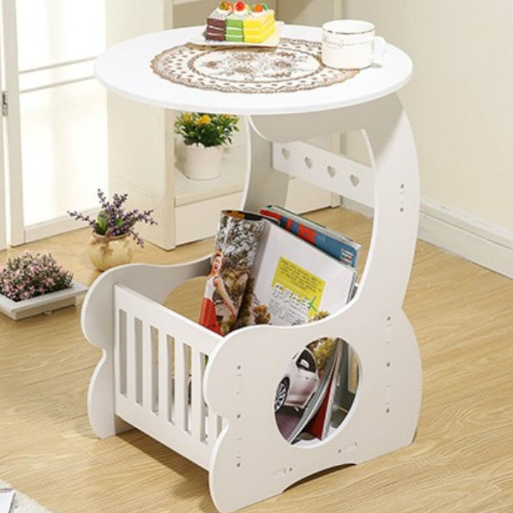 European Style Wood Solid White Coffee Table With Storage Function