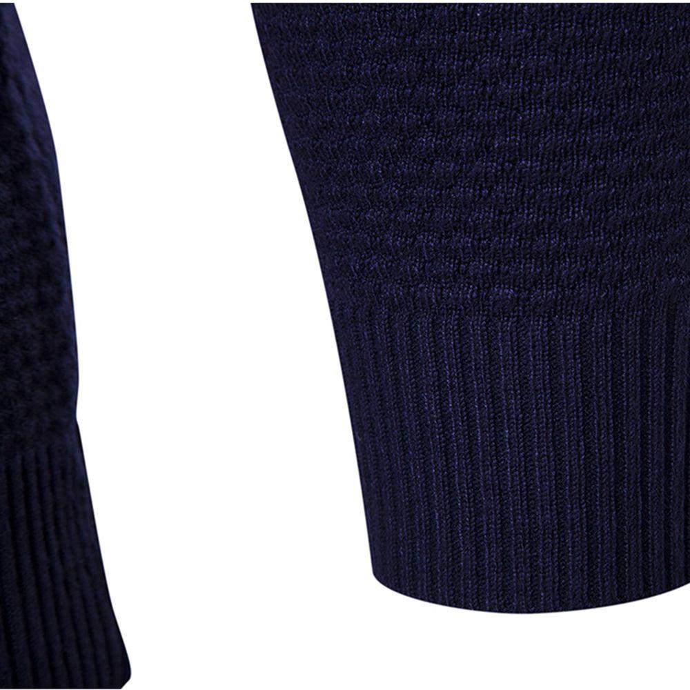 Autumn Winter Men Fashion Diamond Grid V-Neck Knit Sweater