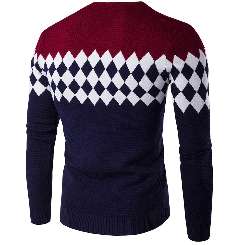 Autumn Winter Men Fashion Diamond Grid V-Neck Knit Sweater