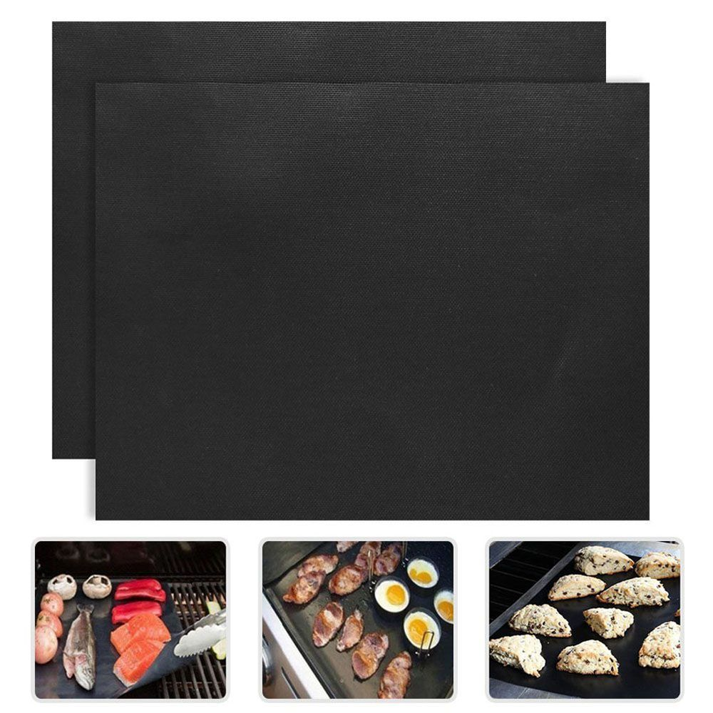 BBQ Grill Mat Pad Baking Sheet Meshes Portable Reusable Non-Stick Outdoor Picnic Cooking Barbecue Tool 2pcs