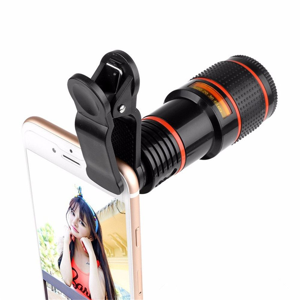 12x Zoom Optical Telescope Portable Mobile Phone Telephoto Camera Lens and Clip for iPhone / Samsung / Huawei / Xiaomi