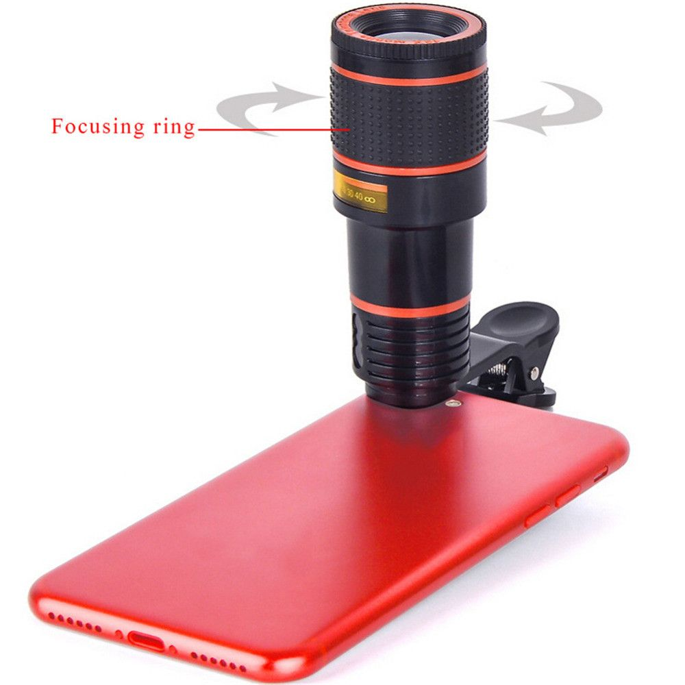 8x Zoom Optical Telescope Portable Mobile Phone Telephoto Camera Lens and Clip for iPhone / Samsung / Huawei / Xiaomi