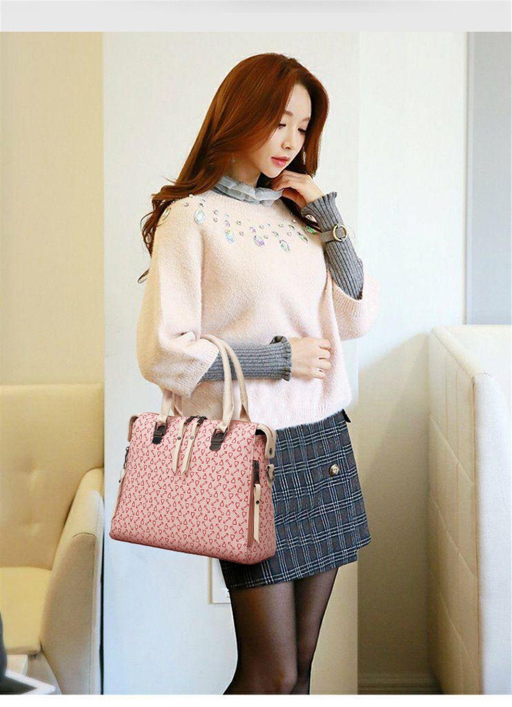 7d22cd333ddd New Trendy Fashion Wild Shoulder Messenger Hand-Held Four Pieces Hit Color  Handbags