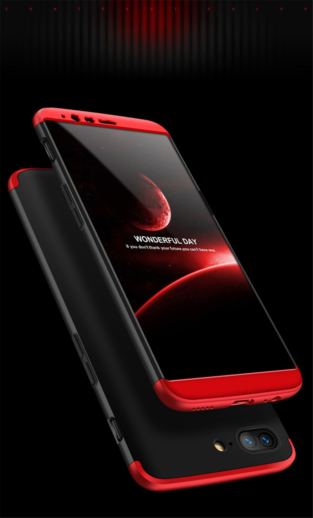 Cover Case for One Plus 5T 360 Degree Full Protection  Hard PC 3 in 1 Fundas Coque Back