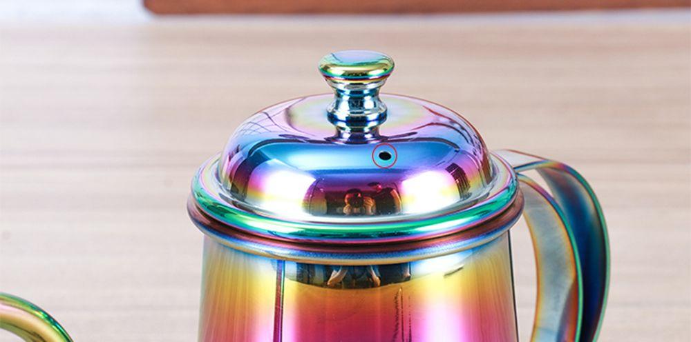 650ML Colorful Stainless Steel Coffee Pot Long Mouth Coffee Pot Teapot Gooseneck Spout Kettle Drip Coffee Kettle