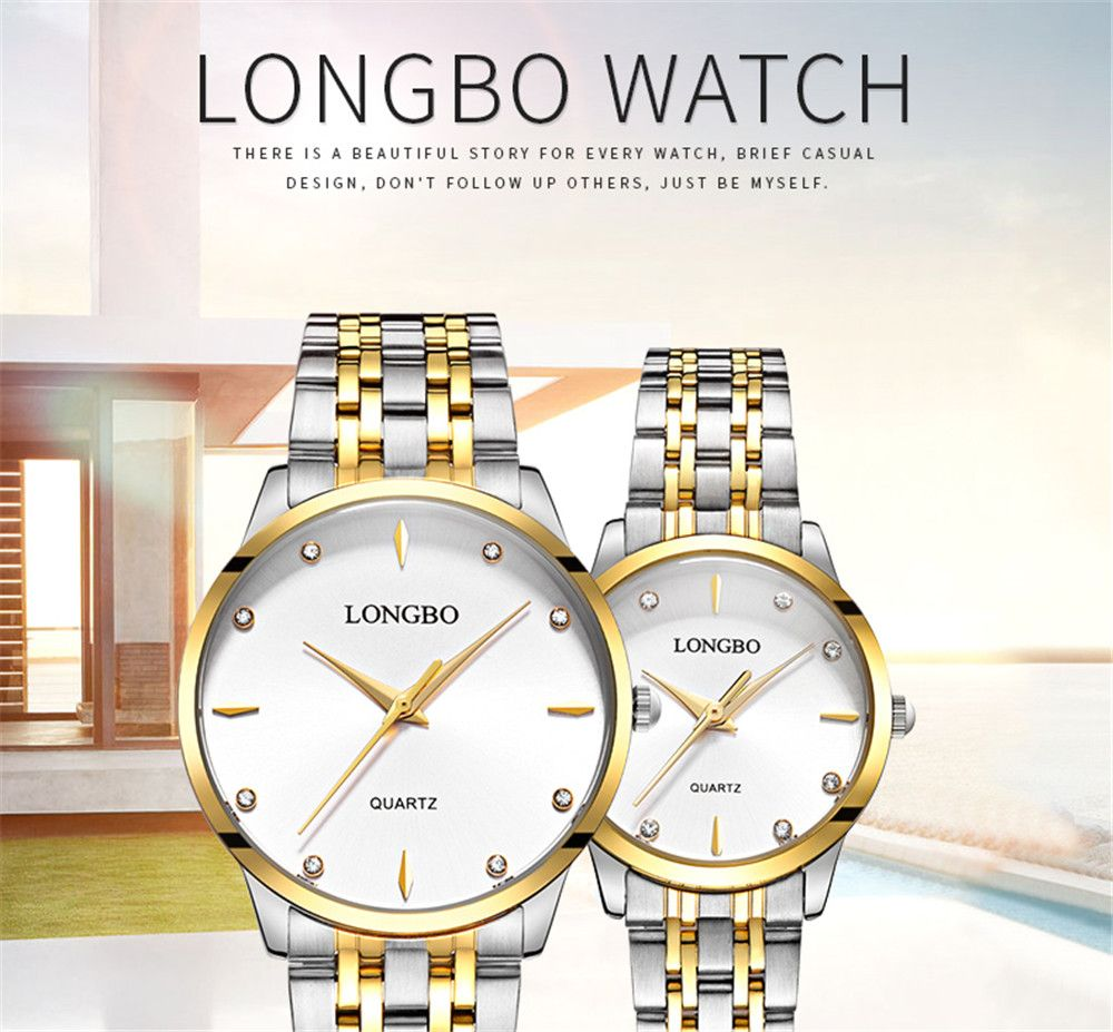 LONGBO 80322 1221 Fashion Leisure Simple Steel Belt Waterproof Couple Quartz Watch