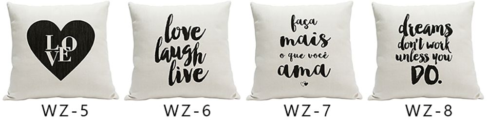 Simple Fresh Fashion English Word Heavy Cotton and Linen Printed Pillow Bedroom Sofa Car Cushion Back Cover
