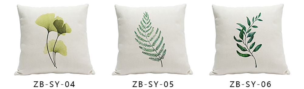 Heavy Cotton Leaf Simple Pastoral Vein Print Pillow Bedroom Sofa Car Cushion Back Cover
