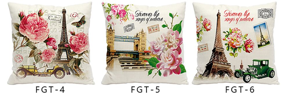 Retro Nostalgic Tower Cotton and Linen Pillowcase Office Sofa Car Lumbar Cushion Decoration European and American Style