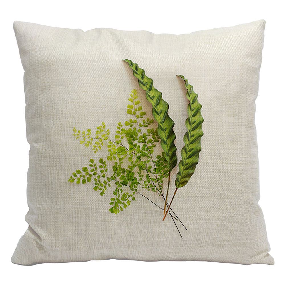 Fashion Green Leaves Fresh Tropical Plants Cotton Linen Pillowcase Cushions Car Office Pillows Bedside Waist