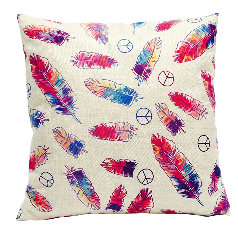 Color Feather Cotton Linen Pillowcase Fashion Sofa Car Lumbar Cushion Decorated Office