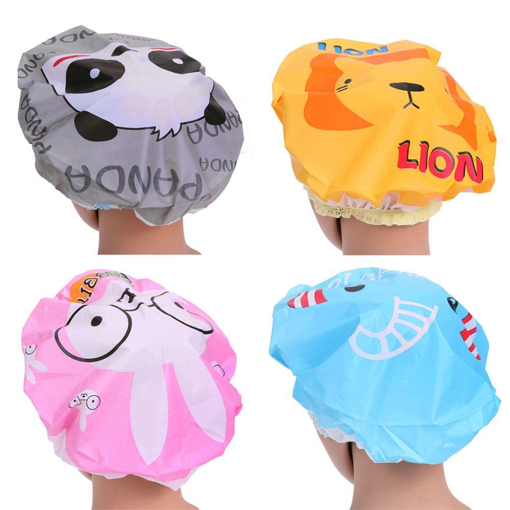 Cute Cartoon Bathing Cap Waterproof PVC Bathing Shower Hair Cap Animal Series Bathroom Products