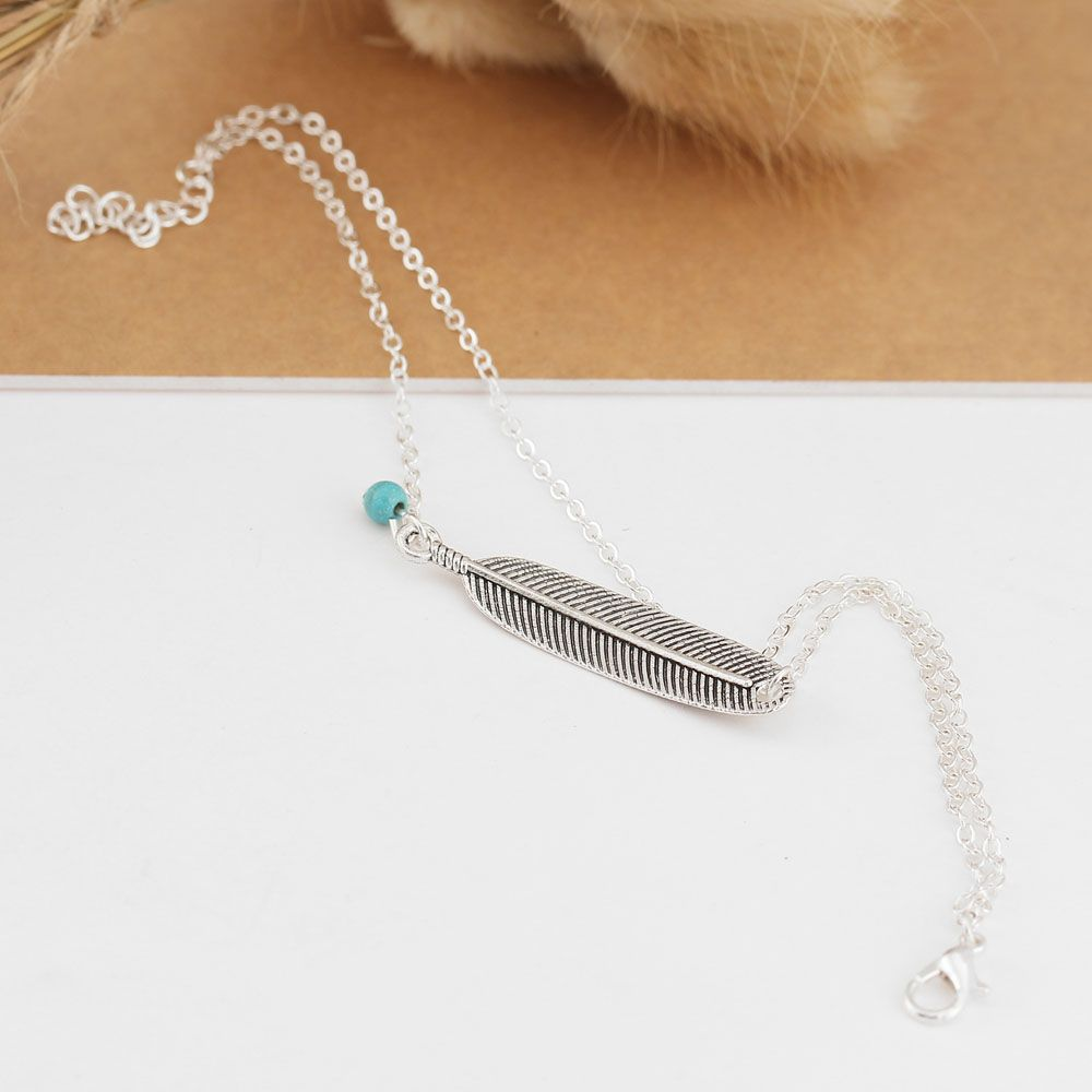 Vintage Multi-Layered Foot Anklet Blue Turquoise Feather